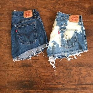 2 pairs of Levi's 515s cut offs